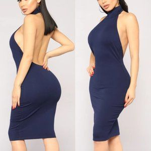 FASHION NOVA Kassie High Neck Dress Navy Blue Midi